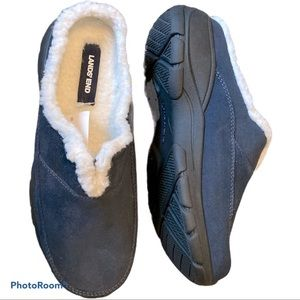 NEW! LAND'S END Lined All Weather Suede Clogs Blue